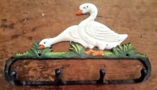 Goose 4 Hook Bathroom or Kitchen Towel Hanger farmhouse country cast iron duck