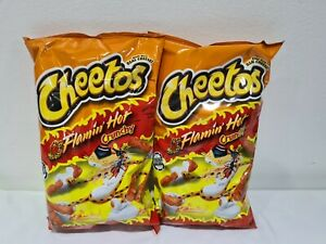 2 x Cheetos Crunchy Flamin Hot Large 8oz/226g Bags American Import Cheese Snack