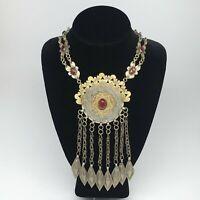 "1pc, 91.3g, 24"" Old Turkmen Necklace Pendant Gold-Gilded Boho Statement,TN422"