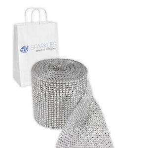 Silver 24 Row Diamond Rhinestone Ribbon Trim Mesh Wrap 10 Yards - Wedding rk