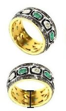 UNCUT/ROSE CUT DIAMOND & NATURAL EMERALD GEMSTONE 925 STERLING SILVER BAND RING