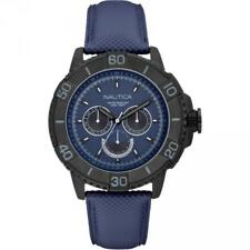 Mens Watch NAUTICA NST 501 A18644G Multifunction Leather Blue Black Sub 100mt