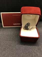WEMPE Panther-Ring - 18k Weißgold -schwarze Brillanten