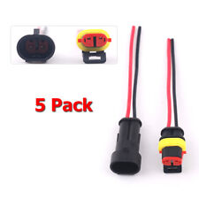 5 Kit AC/DC Car Waterproof Electrical Wire Automotive Connector 2 Pin 2 Way Plug
