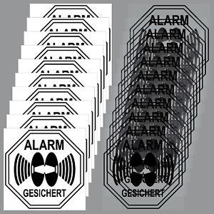 10 Fenster Set Aufkleber Alarm Gesichert 5cm schwarz Innenseite Glas Scheibe