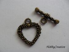 (15) 1 Stück Knebelverschluss Herz Verschluss Toggle Metall messingfarben Kette