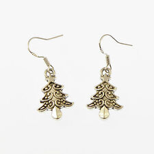 Christmas tree dangly drop earrings sterling silver hooks xmas gift 2cm