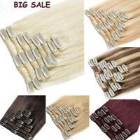 100% Real Remy Human Hair Extensions Full Head Clip in Best Weft Highlight 7PCS