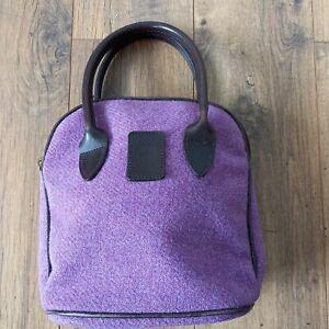 Glenalmond Tweed Company Harris Tweed Blue Purple Shoulder BAG Leather Handles