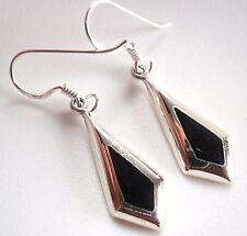 Black Onyx Diamond-Shape Dangle Earrings 925 Sterling Silver Corona Sun Jewelry