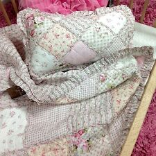 Tara Girls Cot Nursery Throw Quilt Blanket + Cushion Set Shabby Chic Pink