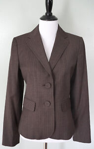 ANN TAYLOR Brown Pinstripe Striped 2 Large Button Fitted Blazer Coat Jacket Sz 0