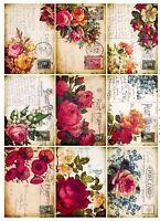 Vintage Rose Postcards Glossy Finish Card Making Topper / Craft Embellishment