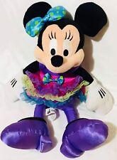 "Minnie Mouse Frilly Ribbon Purple Yellow Blue Dress Disney Parks Plush Toy 13"""