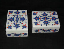 Lot of 2 Marble Jewelry Box Floral Lapis Inlaid Mosaic home decor Wedding Gifts