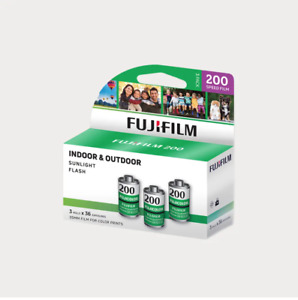 FUJIFILM Fujicolor 200 Color Negative Film (35mm Roll Film, 36 Exposures, 3 Rolls)
