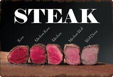 Blechschild 20x30cm gewölbt Steak Garstufen Steaks Deko Geschenk Schild