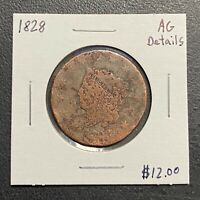 1828 U.S. CORONET HEAD LARGE CENT ~ AG DETAILS! $2.95 MAX SHIPPING! C3328