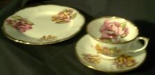 Roslyn Fine Bone China EnglandTea Trio, Cup Saucer & Luncheon Plate,Yellow/Pink