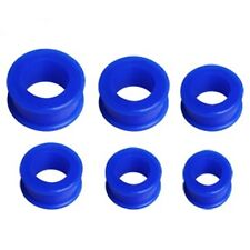 PAIR-Flexi Blue Dark Double Flare Silicone Ear Tunnels 10mm/00 Gauge Body Jewelr