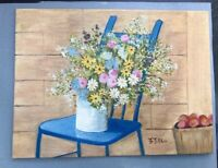 Vintage Oil Painting Impressionist French Country Wildflowers Apples Blue Chair