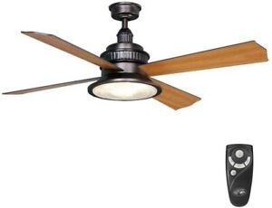 Hampton Bay Valle Paraiso 52 in. Oil Rubbed Bronze Ceiling Fan with Light