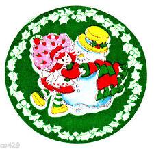 "4"" Strawberry shortcake snowman holiday christmas fabric applique iron on"