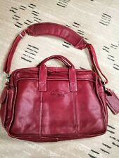 Arkansas Razorback Embossed Leather Computer Briefcase Bag Solid Red Leather