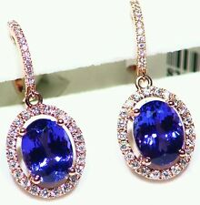 4.33CT 14K Gold Natural Tanzanite White Diamond Engagement Vintage AAA Earrings
