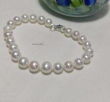 Genuine 925 silver 7-8mm off circle freshwater pearl L16/18/20cm bracelet White