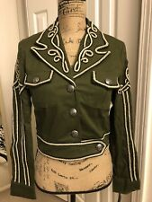 new womens military green embroidered long sleeve jacket XOXO size S