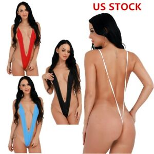 Women's Sexy Sling Shot Bikini Swimsuit Thong G-string Monokini Teddy Bodysuit