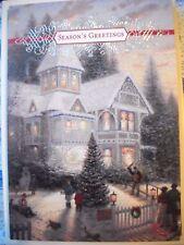 Vtg 1991 Thomas Kinkade CHRISTMAS Victorian House GREETING CARD Unused Hallmark