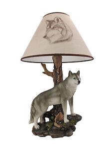 Zeckos `Denizen of Twilight` Gray Wolf Table Lamp
