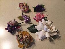 Vintage Millinery Velvet Silk Flowers Roses Violets Corsage/Hat Pin Craft Lot/7