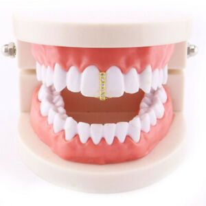 Hip Hop Grills ICED CZ Straight Single Teeth Grillz Cos Rapper Bling Teeth Caps