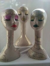 Hand Painted Female Mannequin Heads Displays (Set of 3), Styrofoam Manniquin