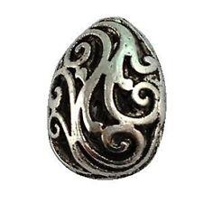 10Pcs Tibetan Silver Hollow Floral Oval Beads A12570