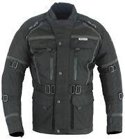 Mens Black Motorcycle Motorbike CE Armoured Jacket Waterproof Reflective S-12XL