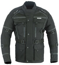Mens Black Motorcycle Motorbike CE Armoured Jacket Waterproof Reflective S-12XL