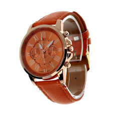 NEW Women Roman Numerals Vogue Leather Analog Quartz Casual Wrist Watch