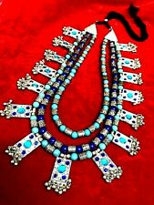 Bollywood Antique Traditional Silver Oxidized 3 Line Blue choker Necklace