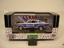 BLUE AND WHITE 1968 PLYMOUTH HEMI BARRACUDA M2 MACHINES 1:64 SCALE DIECAST CAR