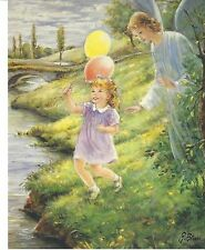 """Catholic Print Picture GUARDIAN ANGEL w GIRL Religious 8x10"""" ready to frame"""