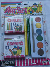 Art Drawing 19pc Set Water Color Paints Markers Chalk Crayons Paint Brush Sealed