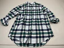 Lands End Women Flannel Plaid Shirt Button Long Sleeve 16 Popover Top Tunic XL