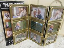 TABLE TOP PHOTO 3 PANEL HOLDER MEMORIES GOLD SCREEN HOLDS (9)  5X3.5 PHOTOS NIB