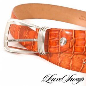 #1 MENS Maximillian Made Italy Orange Alligator Crocodile Print Leather Belt 105