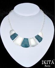 Luxus Statement Halskette IKITA Paris Collier Kette Emaille Glas Versilbert