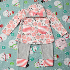 Cjp Baby *Nwt* Infant Girl 6-9 Months Gray & Peach Three Piece Outfit
